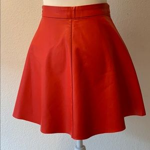 Faux leather red full mini skirt